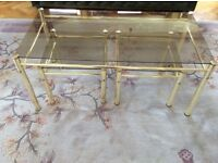 Furniture. Modern glass topped coffee table and 2 side tables with metal legs. £ 20 ono.