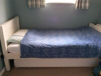 Children's white single bed with pull out mattress-reduced