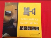 """TV mount. Paramount black articulating mount for 22"""" -40"""" TV. Never used; still boxed.."""