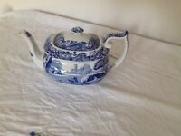 Spode Blue Italian Teapot, 1.1 litres (about 6 cups)