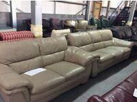 Beige leather 3 & 2 seater sofa
