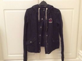 Ladies Hollister Jacket - size medium, navy blue in excellent condition
