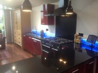 High Quality Rangemaster Cooker, Extractor Fan and Splashback, Gas Ring Hob, 2 Electric Ovens