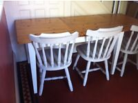 Real Wood Shabby Chic Extendable Dining Table & 3 Farmhouse Chairs