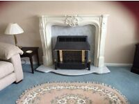 Gas fire/ surround marble back and hearth