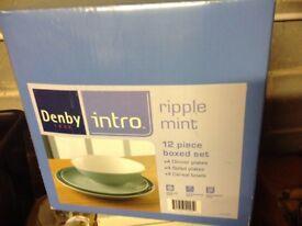 Denby Intro Dinner Set Ripple Mint 12 piece Brand New