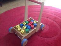 John Lewis wooden baby walker with bricks