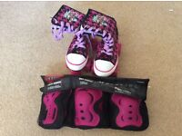 Size 13 No fear roller boots and protection pack.