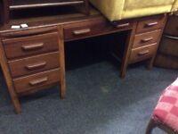 Large solid oak leather top desk