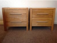 A PAIR of ASH, 2 DRAWER BEDSIDE TABLES