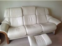 Stressless Ekornes 3 seater recliner in Paloma leather ,cost over £3000 from Julian Foye