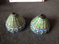 2 x glass and lead lamp shades mosaic or Tiffany style