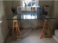 Glass top trestle table from Habitat.