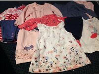 Baby girl clothes bundle all 6-9 months 4 leggings, 3 tops 2 dresses 2 vests and cardigan