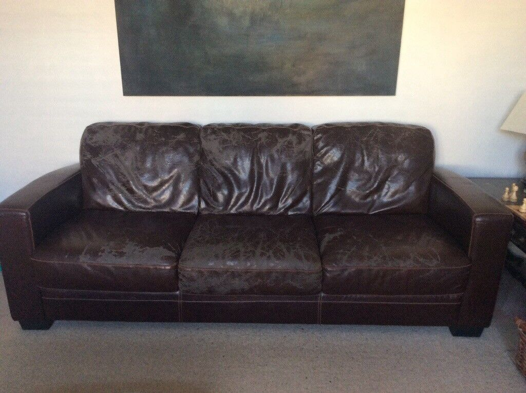Large 3 seater brown bicast leather sofa. FREE. | in ...