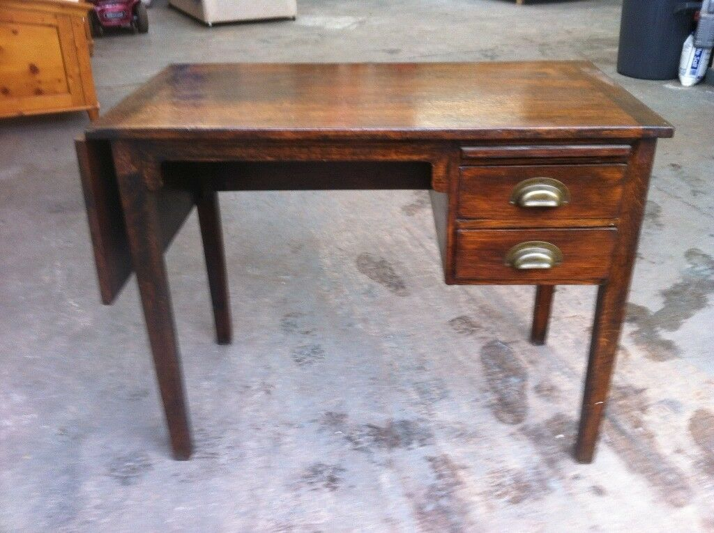 Vintage Solid Oak Drop Leaf Desk With Drawers Good Condition Can Deliver