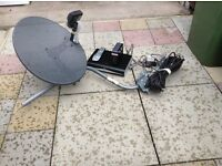 Sky digital set. Dish, cable, hd box and router.