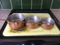 Vintage French copper saucepans set of 3