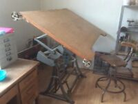 Vintage Rolls Royce, Adjustable Cast Iron Drawing Table.