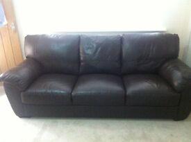 3 seater brown faux leather sofa X2 £100 per sofa