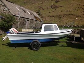 Dejon 14 ft boat with good trailer. Isle of Mull.