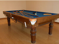 Pool / Snooker Table: Four-legged, 8-foot slate bed table with balls, cues, etc.