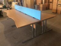 Four Beech Wave Front Desks & Dividers