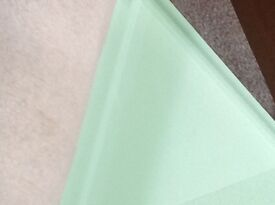 Toughened Glass work /table top 800mm x 500mm 19mm deep Pistachio green colour by Decoglaze