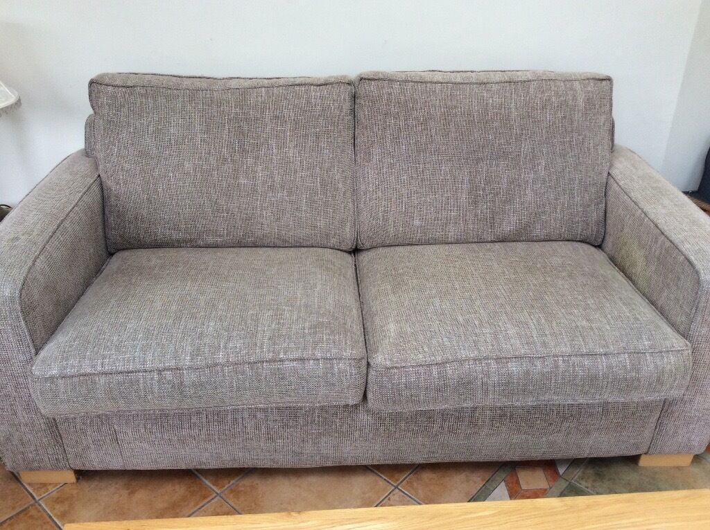 Furniture Village Ilford sofa bed, 2 seater with good quality double bed. mink brown woven