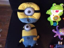 Minion soft toy and cushion