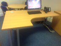 Office Desk - Light Oak effect - W160. D120. H73 cms.. Excellent condition £40. - Collection only