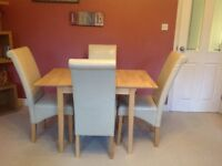 Beech wood extendable table with 4 faux leather chairs
