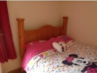 Mexican pine bedroom furniture - double bed frame wardrobe bedside cabinet and chest drawers