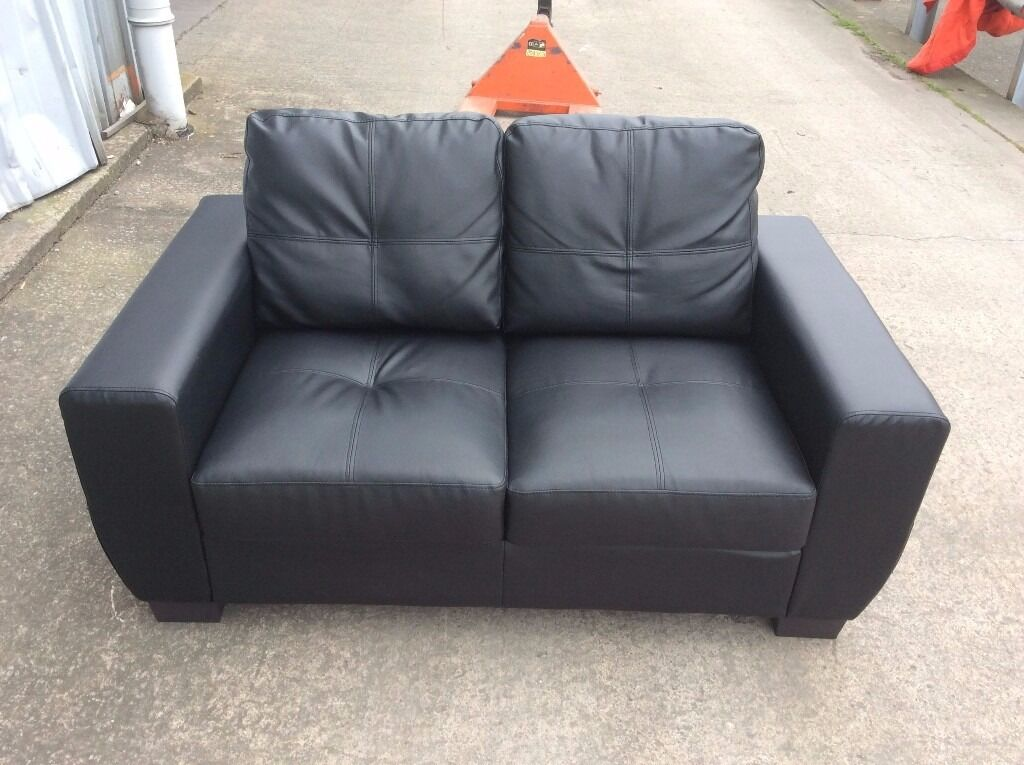 2 Seat Black Leather Sofa - used - £70 Including Free Local Delivery