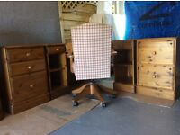 Ducal corner desk with filing cabinet and drawers. Includes Ducal chair and DVD/CD cabinet.