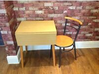 SMALL SPACE SAVING FOLDING TABLE FOR ONE OR TWO PEOPLE WITH ONE CHAIR