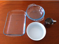 Kitchenware - pyrex glass baking dishes, porcelain baking dish, stainless steel jug