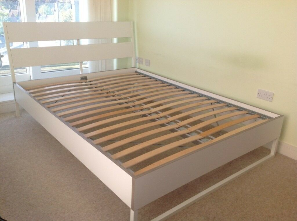 Ikea White King Size Bed Frame With Oak Wood Effect Trim Bedroom