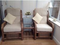 2 Wicker Chairs plus 2 Wicker small occasional tables. Ideal for a conservatory.