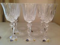 6 x Bohemia Lead Crystal Glasses in Marquis Pattern