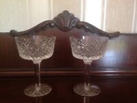 Pair, Tyrone Crystal Champagne Saucers / Tall Sherbet glasses SPERRINS pattern