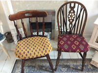 2 x Solid heavy wood pub syle chairs