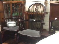2x high back Windsor chairs