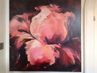 LARGE STUNNING FLORAL PAINTING ON CANVAS PINK PLUM FLOWER WALL ART