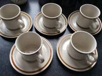 Five Mountain Wood Cups and Saucers