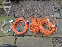 Selection of 4 hook up cables and 13 amp converter