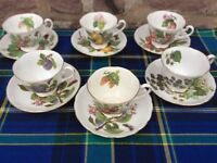 Royal Chelsea fruit pattern 6 cups & Sacers
