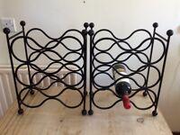 2 wrought iron wine racks