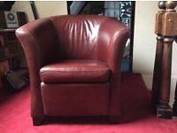 Burgundy leather bucket armchair