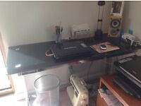 Computer desk - Black glass with chrome